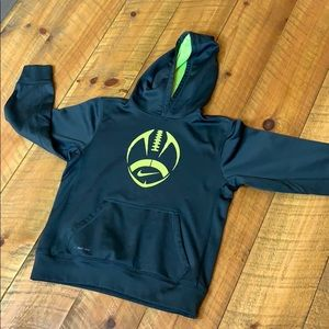 Nike Therma-Fit black hoodie with football Large